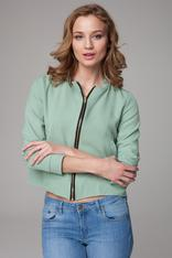 Green cropped jacket with zipper fastening