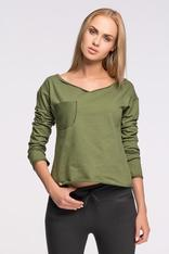 Khaki Cropped Knit Blouse