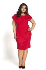 Red Wraparound Evening Dress with Bow in Plus Size