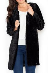 Front Open Black Velvet Coat
