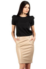 Pencil Leather Beige Skirt with Loops for Belt