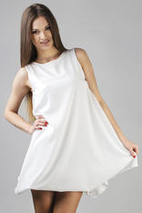 White Balloon Dress with Waterfall Side Panels