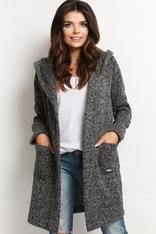 Flecked Grey Hooded Cardigan with Side Pockets