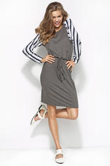 Grey&White&Navy Flecked Dress with Raglan Striped Sleeves and Self Tie Waist Belt