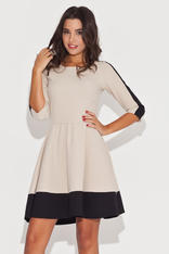 Beige-Black School Girl Dress with Contrast Trim