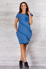 Blue Sporty Tunic Dress with Front Pocket