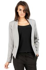 Gray Unique Collar Women Blazer Jacket