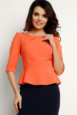 Coral peplum blouse with elbow length sleeves