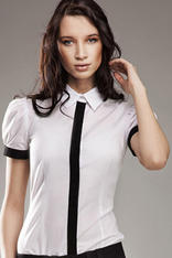 Pleated Puffed Shoulder Collared White Shirt with Contrast Trim