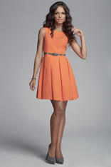 Pleated Belted Sleeveless Orange Dress with Seamed Top