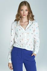 Patterned Blouse with Cuffed Long Sleeves