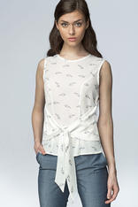 Ecru Glasses Printed Blouse with Bow Tie Waist