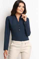 Navy Blue Mandarin Collar Tailored Shirt