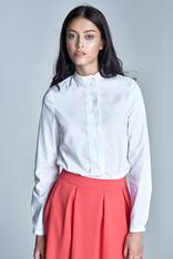 White cotton blend blouse with mandarin collar
