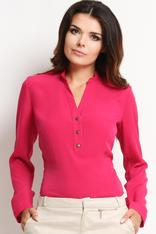 Pink Mandarin Collar Tailored Shirt