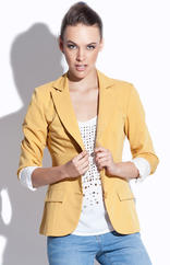 Mustard Petite Collar Coat with Side Flap Pockets