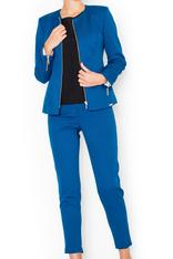 Straight Cut Elegant Blue Blazer with Zipper Cuffs