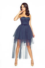 Blue Bandeau Prom Lace Dress