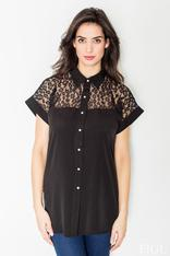 Black lace top button down shirt