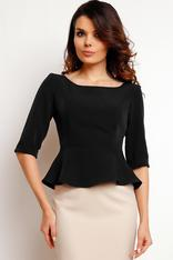 Black peplum blouse with elbow length sleeves