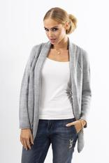 Grey Shawl Collar Ladies Cardigan with Eyelet Knit Pattern