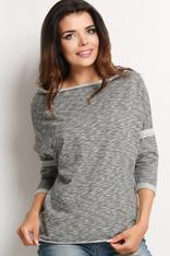 Grey Slouchy Neck Blouse with Contrast Trim