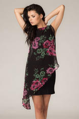 Asymmetrical Black Lace Floral Dress with Contrast Underlay