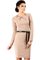 Cappuccino Pleated Neckline Shift Dress with Belt