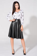 Electric black flared skirt with gold zipper