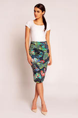 Blue Abstract Printed Midi Pencil Skirt with Back Zipper Fastening