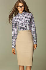 Beige Tea-Length Pencil Skirt