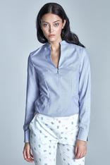 Blue blouse with slit neckline and cuffs