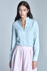 Light blue seam shirt with loop button neckline