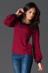 Peter Pan Collar Maroon Shirt with Shirred Cuffs