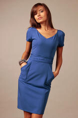Blue Back Slit Seam Dress with Back Zipper and Side Pockets