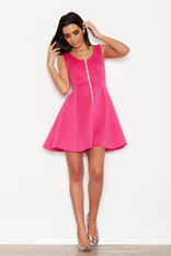 Pink Seam Skater Dress with Contrast Zipper