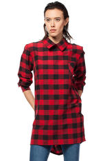 Red Checkered Tunic Shirt with Decorative Back Zipper