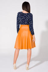 Electric mustard yellow flared skirt with gold zipper