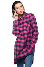 Pink Checkered Tunic Shirt with Decorative Back Zipper
