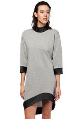 Grey Asymmetrical Flecked Dress with Cut Out Back