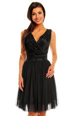 Black crossover lace bodice dress