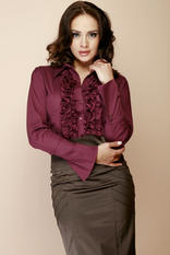 Deep Purple Ruffled Blouse with Fanned Sleeves