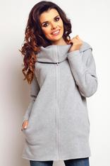 Grey turtle neck sweater withfront zipper