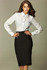 Black Tea-Length Pencil Skirt