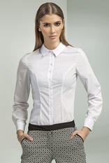 Slim Fit Petite Collared Seam White Shirt