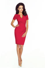 Wrap Around Self Belted Sheath Red Dress