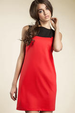 Red Sleeveless Colour Block Panel Dress