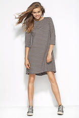 Grey Patterned Striped Dress with Elbow Length Sleeves