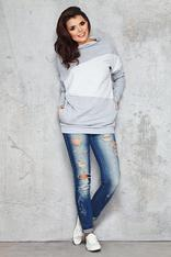 Grey&White Irregular Block in Front Comfy Blouse