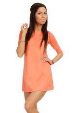 Coral Shift Dress with Metallic Emblem